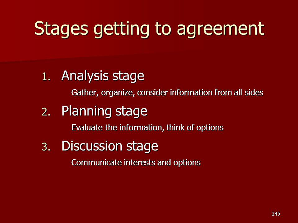 Stages getting to agreement 1. Analysis stage Gather, organize, consider information from all sides 2. Planning stage Evaluate the information, think