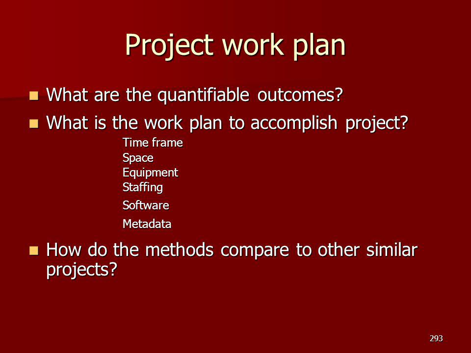 Project work plan What are the quantifiable outcomes? What are the quantifiable outcomes? What is the work plan to accomplish project? What is the wor