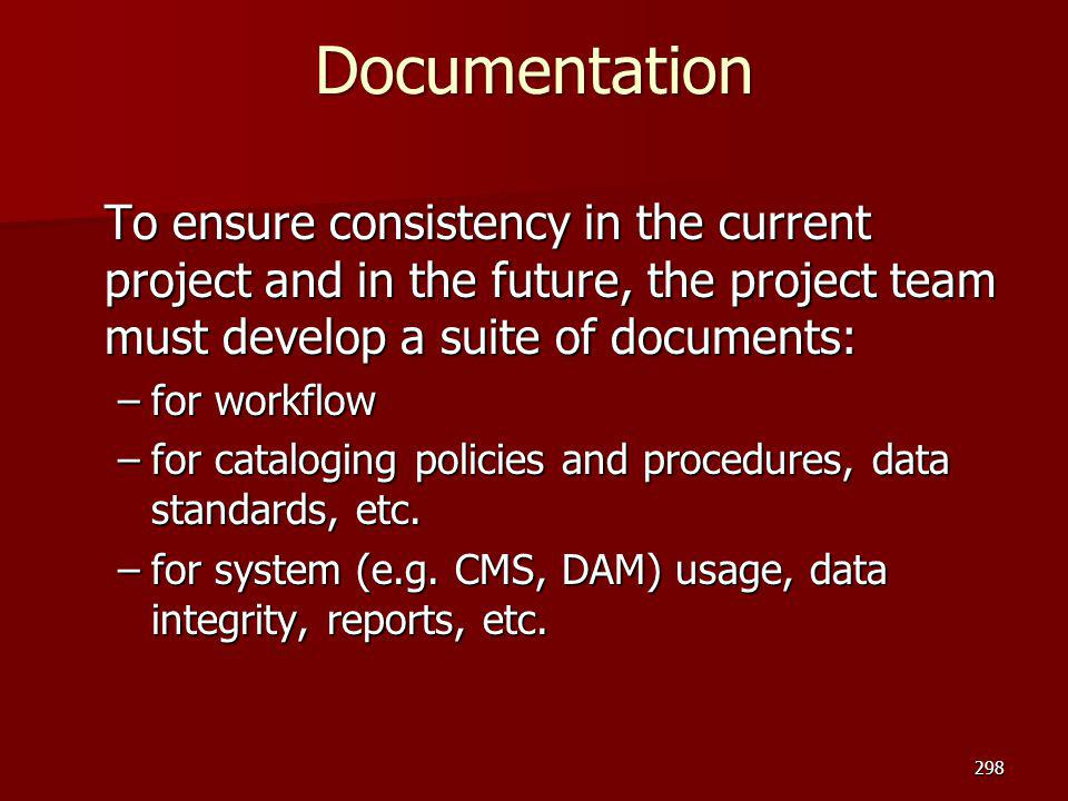 Documentation To ensure consistency in the current project and in the future, the project team must develop a suite of documents: –for workflow –for c