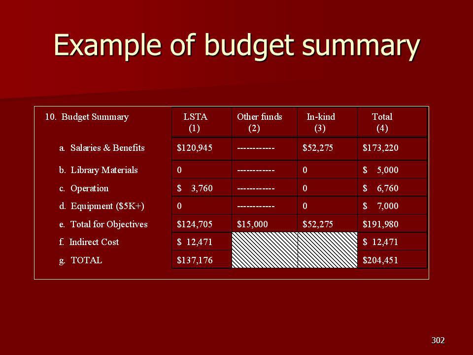 Example of budget summary 302