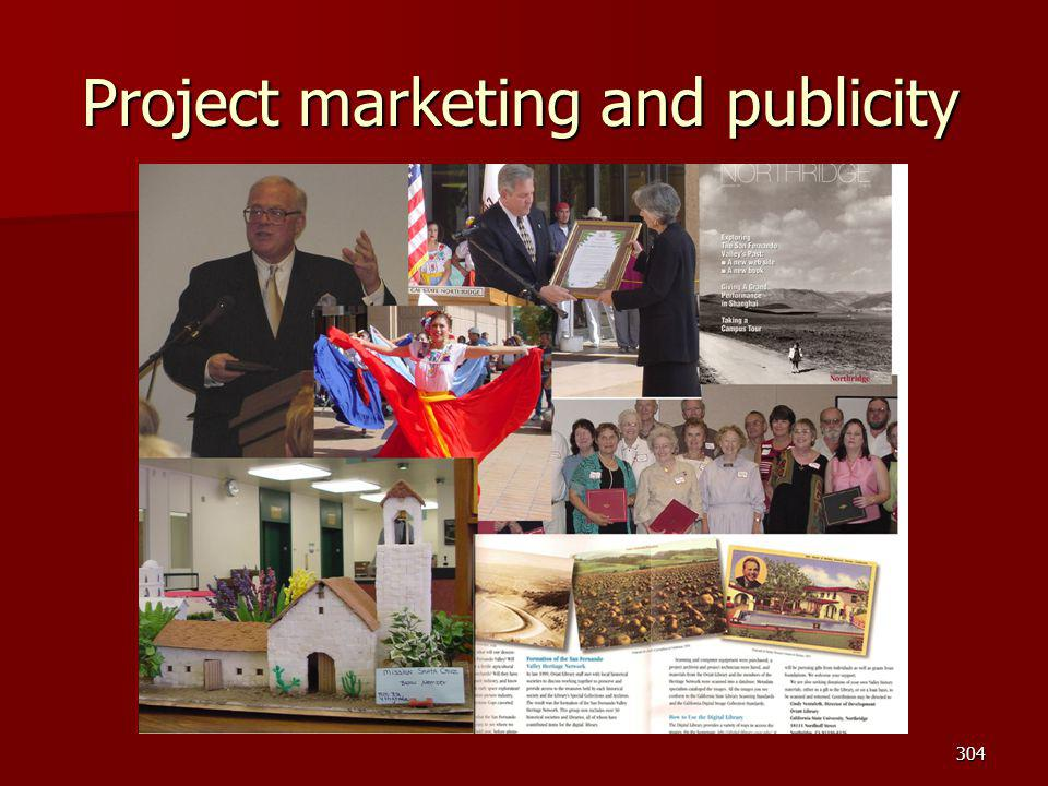 Project marketing and publicity 304
