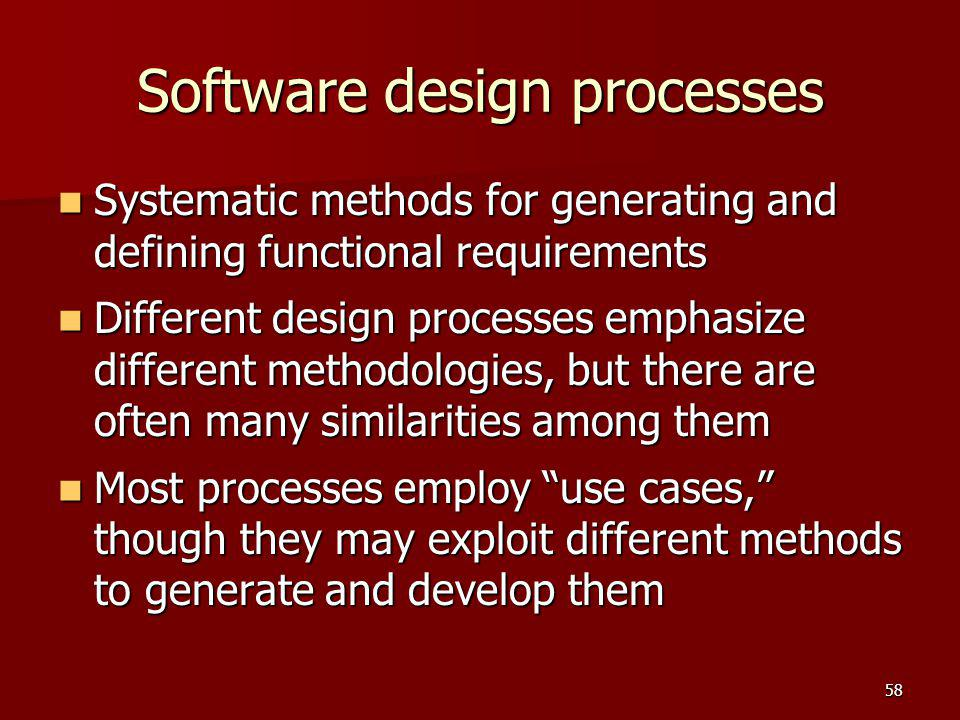 Software design processes Systematic methods for generating and defining functional requirements Systematic methods for generating and defining functi