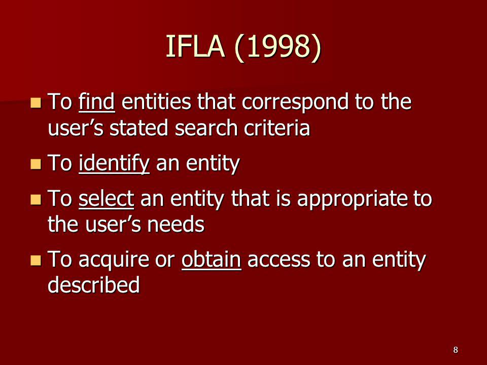 IFLA (1998) To find entities that correspond to the user's stated search criteria To find entities that correspond to the user's stated search criteri