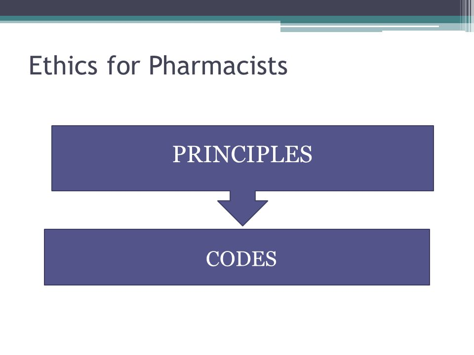 Ethics for Pharmacists PRINCIPLES CODES