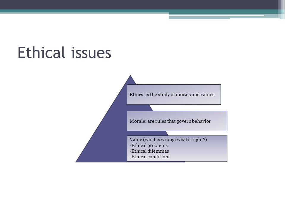Ethical issues Ethics: is the study of morals and values Morale: are rules that govern behavior Value (what is wrong/what is right?) -Ethical problems