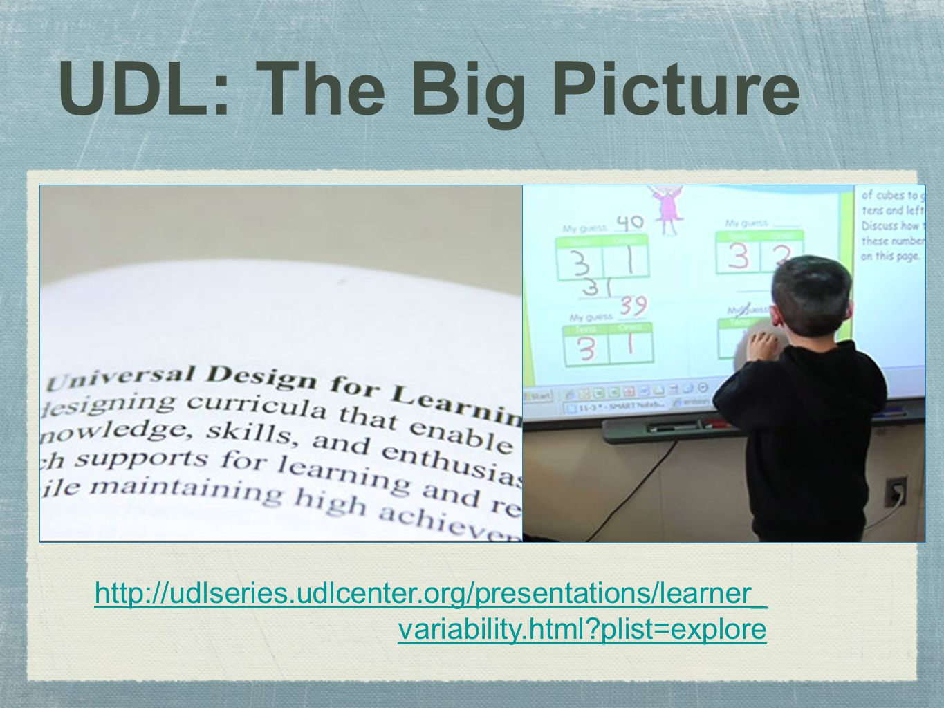 UDL: The Big Picture http://udlseries.udlcenter.org/presentations/learner_ variability.html plist=explore