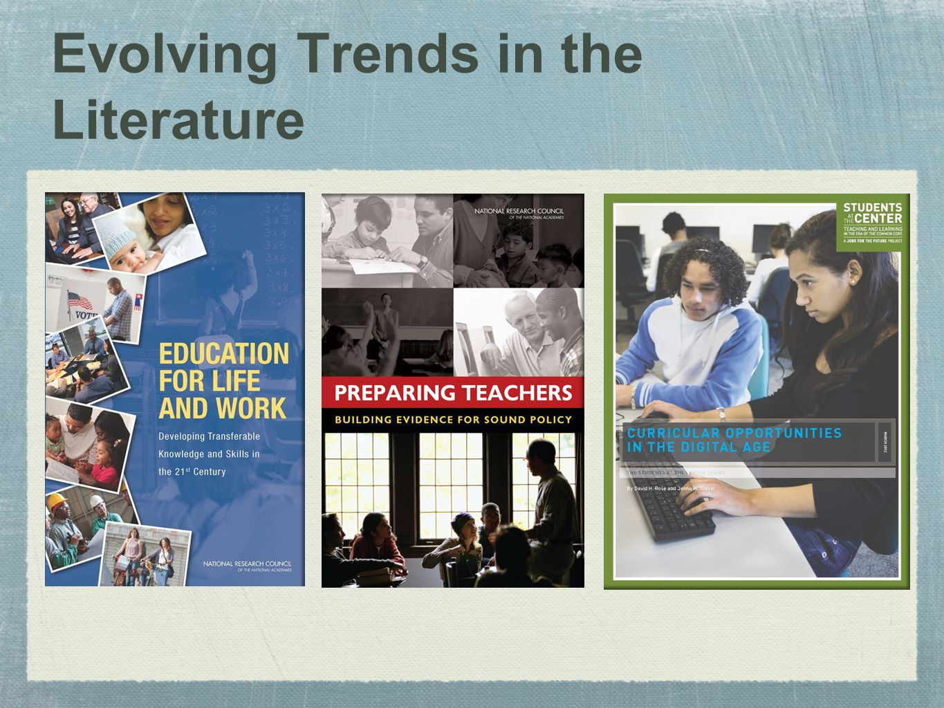 Evolving Trends in the Literature