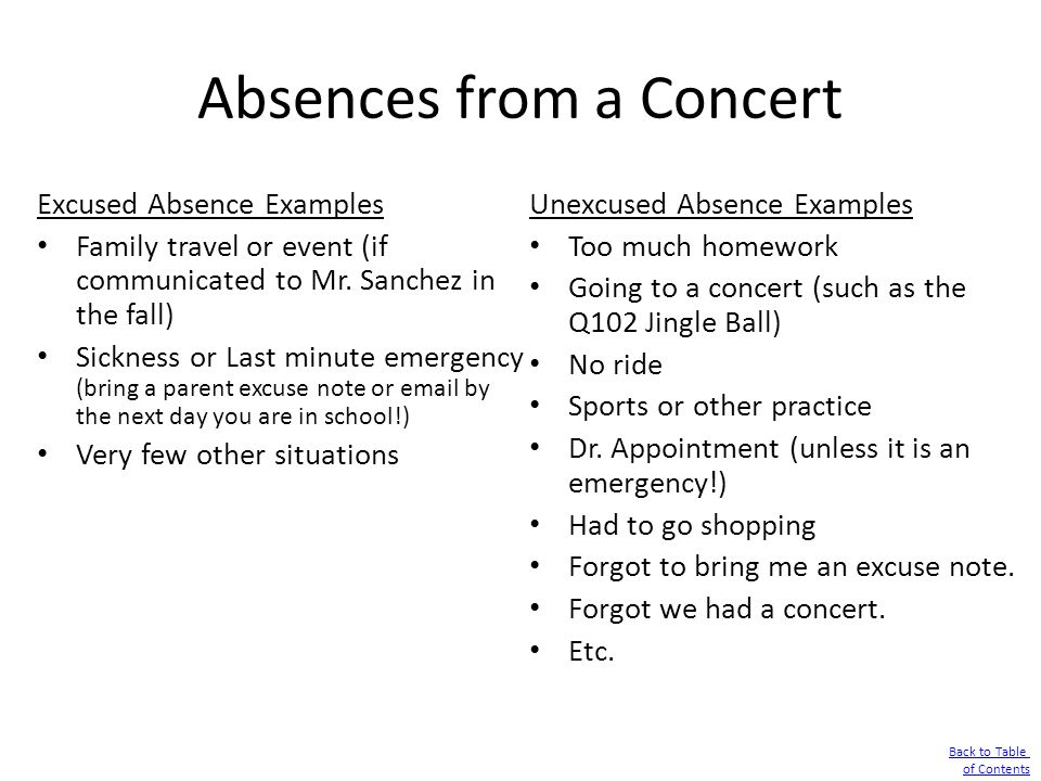 Absences from a Concert Excused Absence Examples Family travel or event (if communicated to Mr. Sanchez in the fall) Sickness or Last minute emergency