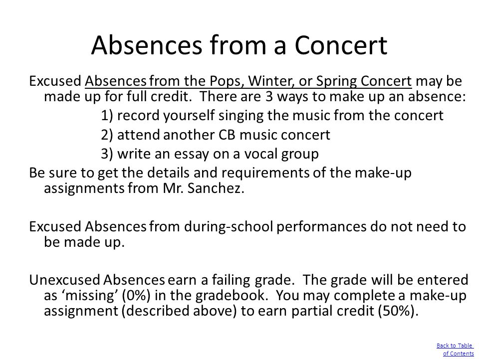 Absences from a Concert Excused Absences from the Pops, Winter, or Spring Concert may be made up for full credit. There are 3 ways to make up an absen