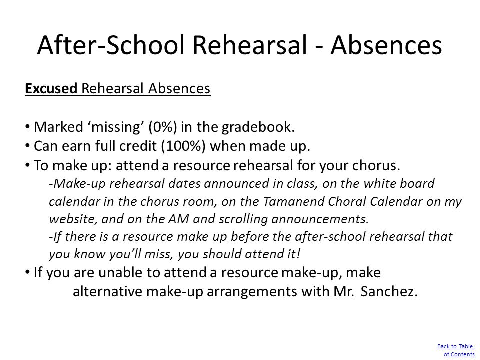 After-School Rehearsal - Absences Excused Rehearsal Absences Marked 'missing' (0%) in the gradebook. Can earn full credit (100%) when made up. To make