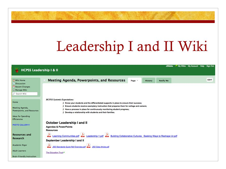 Leadership I and II Wiki