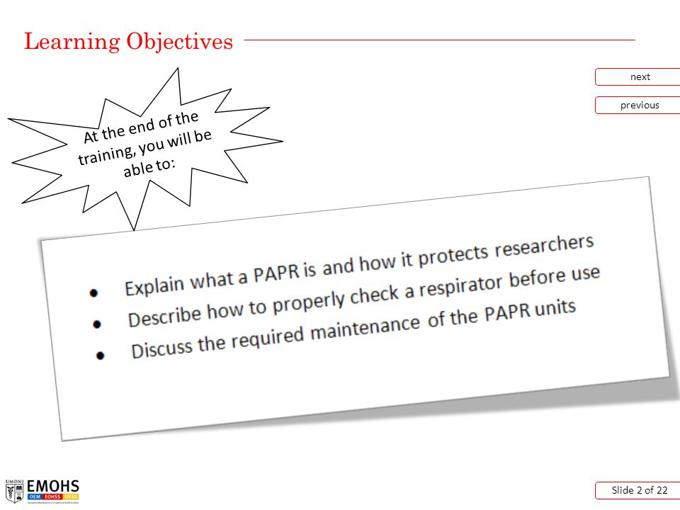 Putting on a PAPR next previous Slide 13 of 22 Click the picture above to view the video