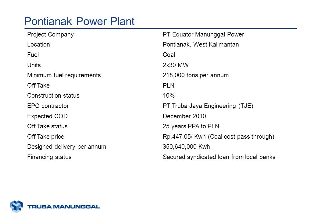 xunaa [printed: ____] [saved: ____] Presentation2 Pontianak Power Plant Project CompanyPT Equator Manunggal Power LocationPontianak, West Kalimantan FuelCoal Units2x30 MW Minimum fuel requirements218,000 tons per annum Off TakePLN Construction status10% EPC contractorPT Truba Jaya Engineering (TJE) Expected CODDecember 2010 Off Take status25 years PPA to PLN Off Take priceRp.447.05/ Kwh (Coal cost pass through) Designed delivery per annum350,640,000 Kwh Financing statusSecured syndicated loan from local banks