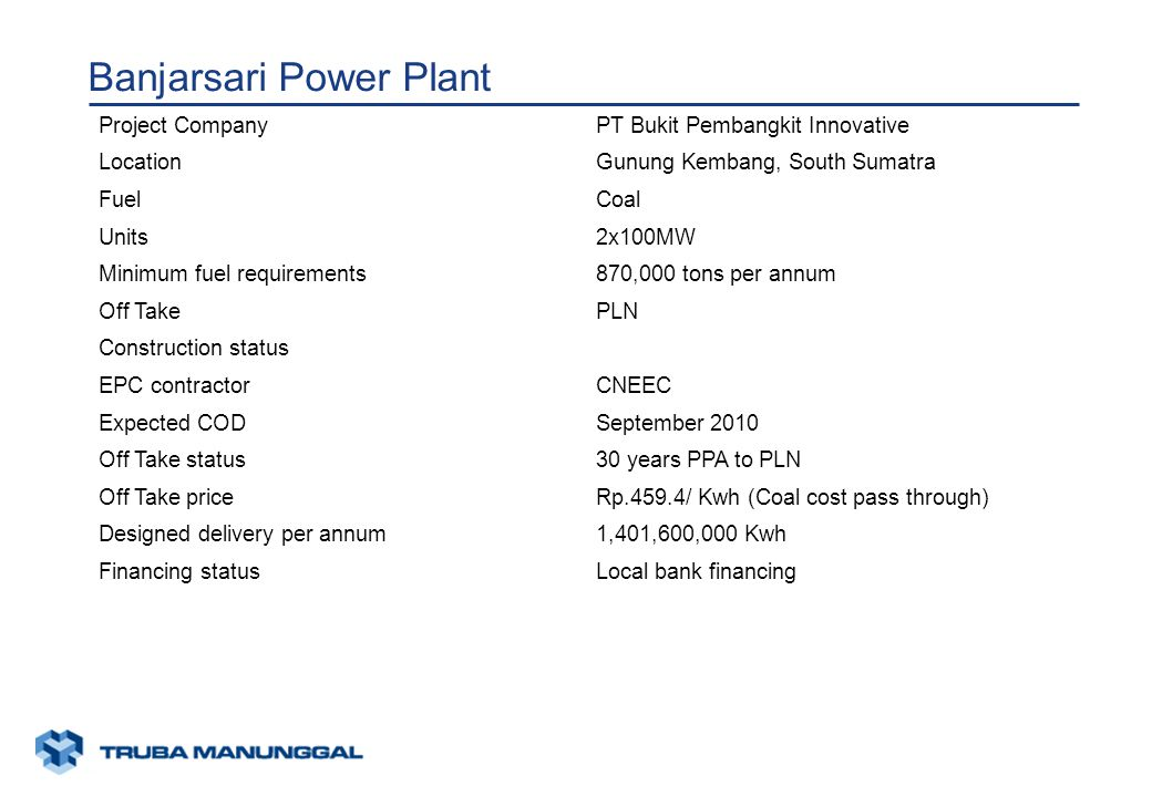 xunaa [printed: ____] [saved: ____] Presentation2 Banjarsari Power Plant Project CompanyPT Bukit Pembangkit Innovative LocationGunung Kembang, South Sumatra FuelCoal Units2x100MW Minimum fuel requirements870,000 tons per annum Off TakePLN Construction status EPC contractorCNEEC Expected CODSeptember 2010 Off Take status30 years PPA to PLN Off Take priceRp.459.4/ Kwh (Coal cost pass through) Designed delivery per annum1,401,600,000 Kwh Financing statusLocal bank financing