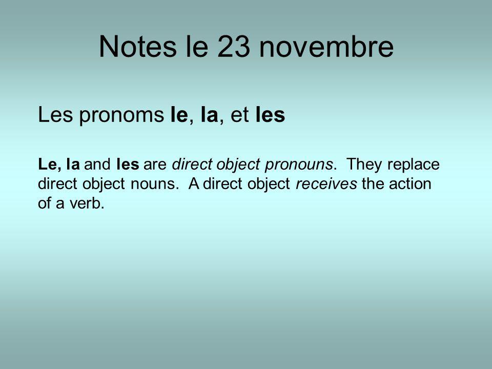 Notes le 23 novembre Les pronoms le, la, et les Le, la and les are direct object pronouns.