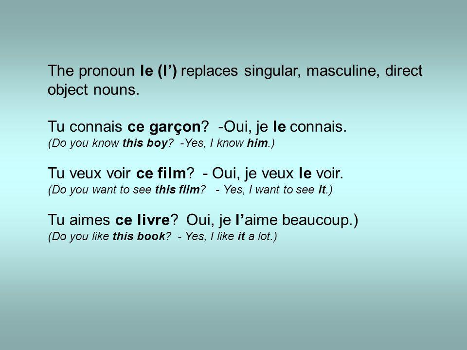 The pronoun le (l') replaces singular, masculine, direct object nouns.