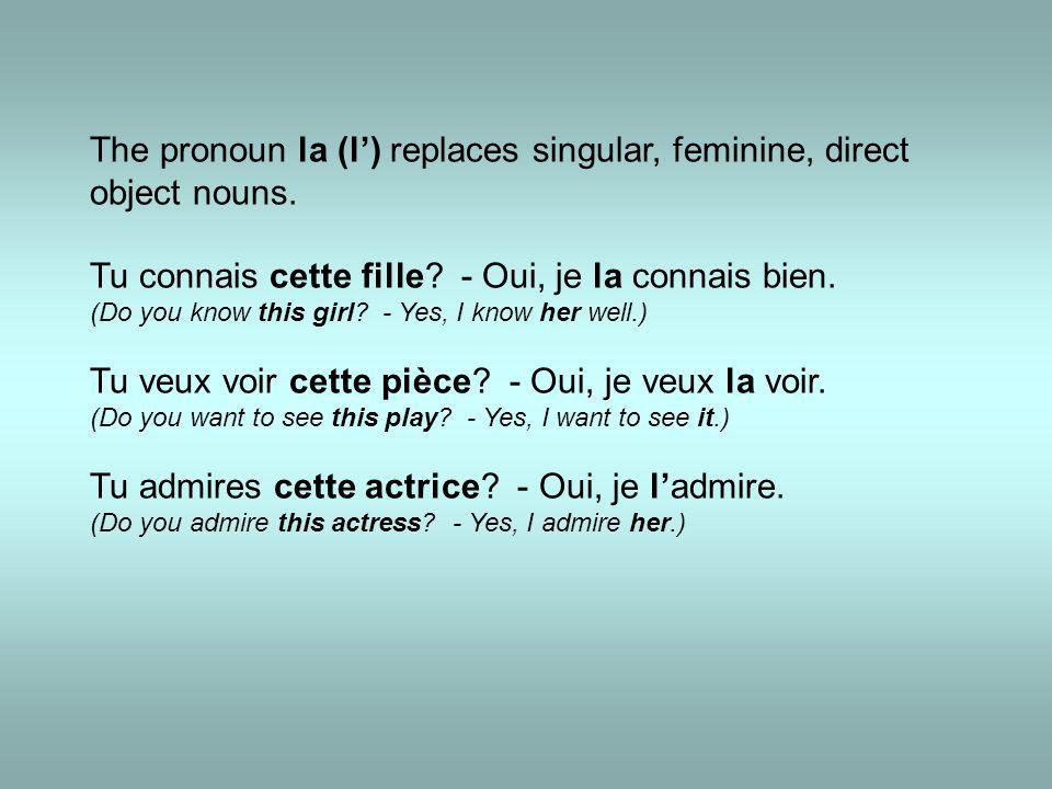 The pronoun la (l') replaces singular, feminine, direct object nouns.