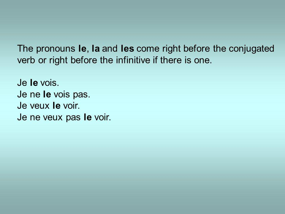 The pronouns le, la and les come right before the conjugated verb or right before the infinitive if there is one. Je le vois. Je ne le vois pas. Je ve