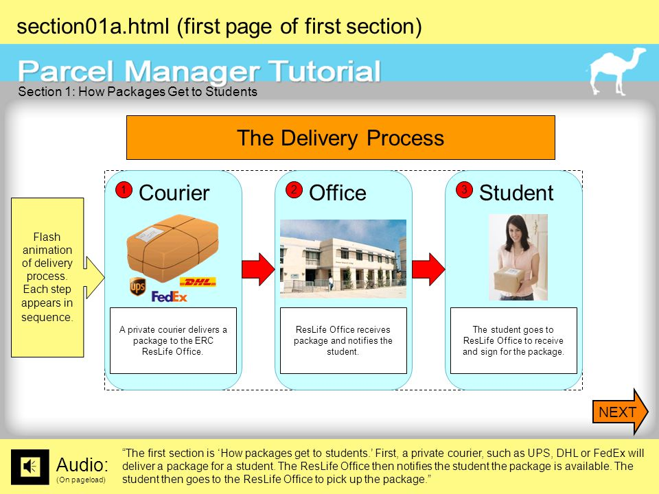 section01a.html (first page of first section) Audio: (On pageload) The first section is 'How packages get to students.' First, a private courier, such as UPS, DHL or FedEx will deliver a package for a student.