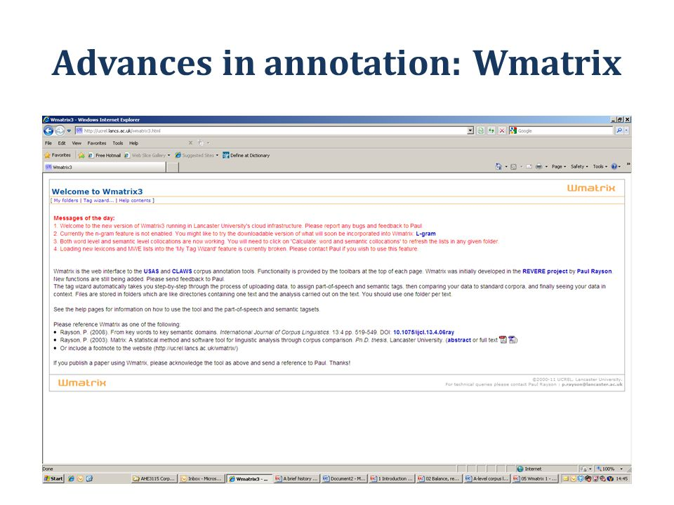 Advances in annotation: Wmatrix