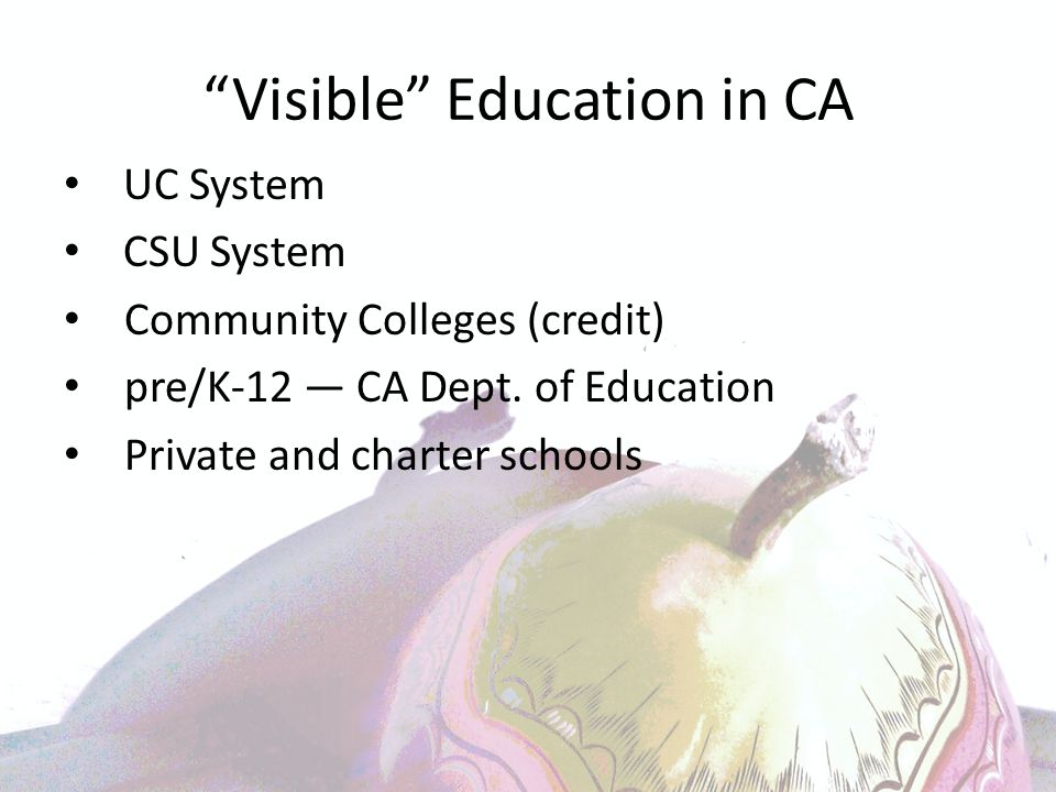 Visible Education in CA UC System CSU System Community Colleges (credit) pre/K-12 ― CA Dept.