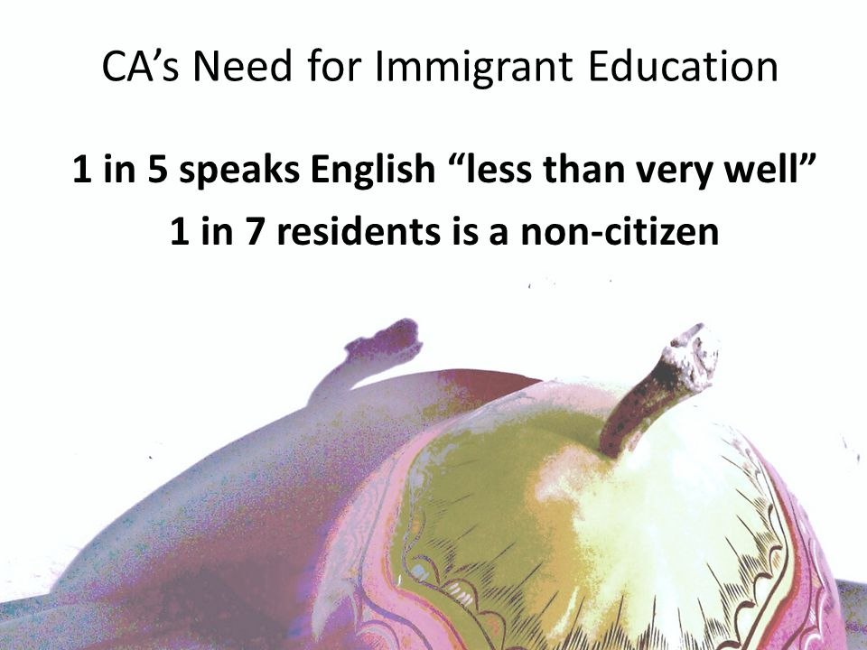 CA's Need for Immigrant Education 1 in 5 speaks English less than very well 1 in 7 residents is a non-citizen