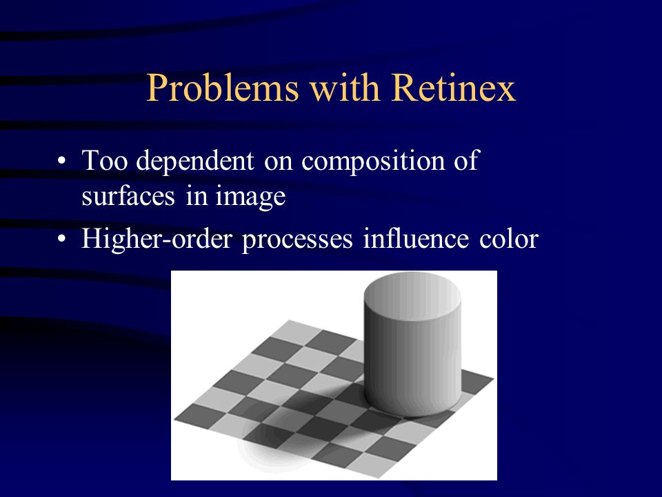 Problems with Retinex Too dependent on composition of surfaces in image Higher-order processes influence color
