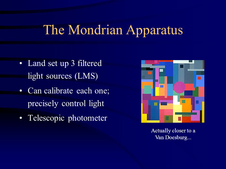 The Mondrian Apparatus Land set up 3 filtered light sources (LMS) Can calibrate each one; precisely control light Telescopic photometer Actually closer to a Van Doesburg...