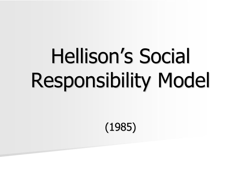 Hellison's Social Responsibility Model (1985)