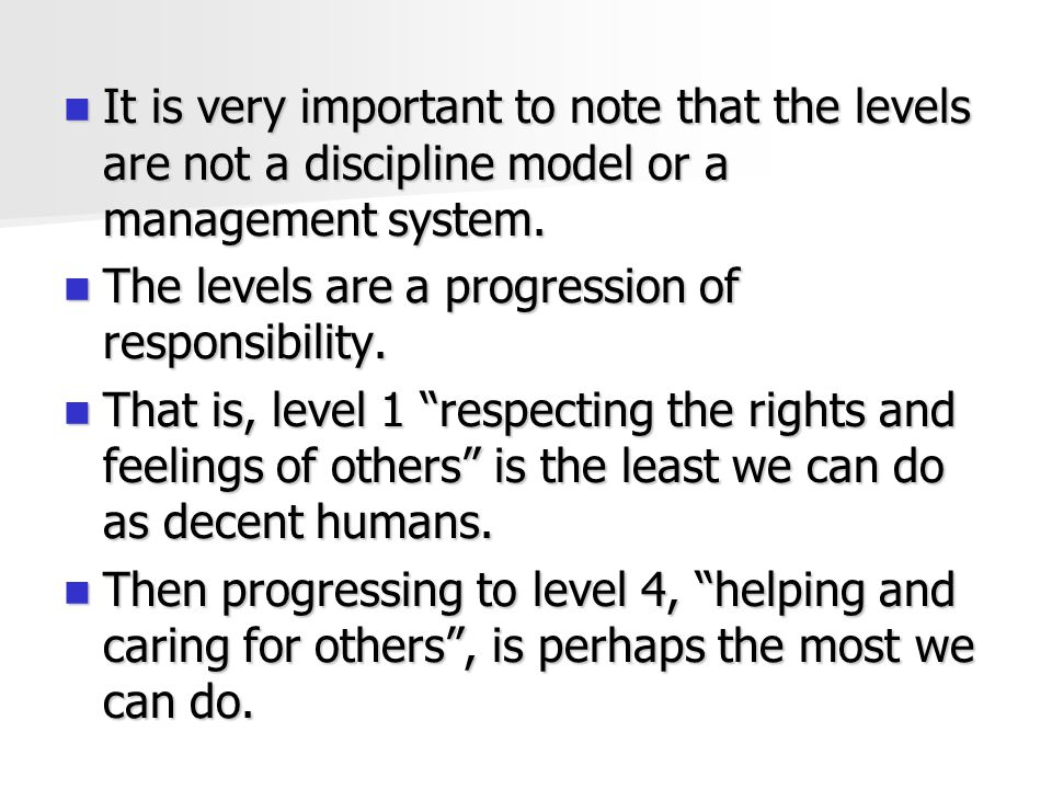 It is very important to note that the levels are not a discipline model or a management system.