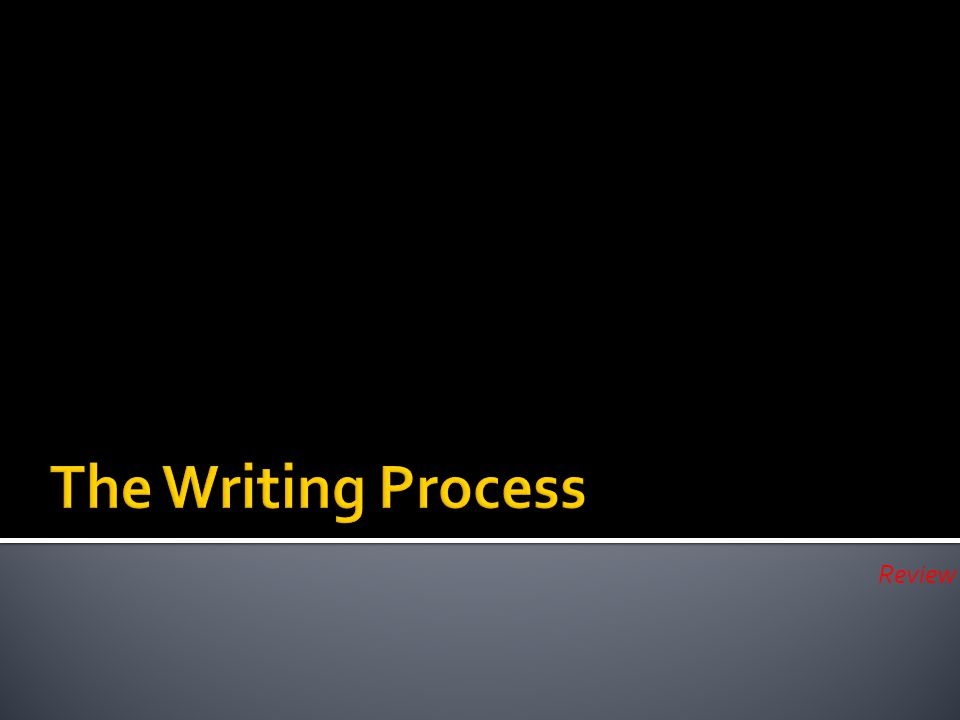 Right now…turn to one of your neighbors and see if you can remember what the 5 steps of the writing process are!