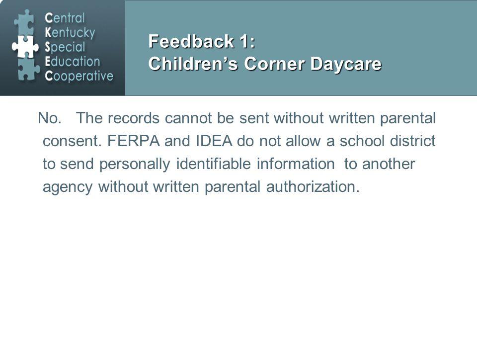 Feedback 1: Children's Corner Daycare No.