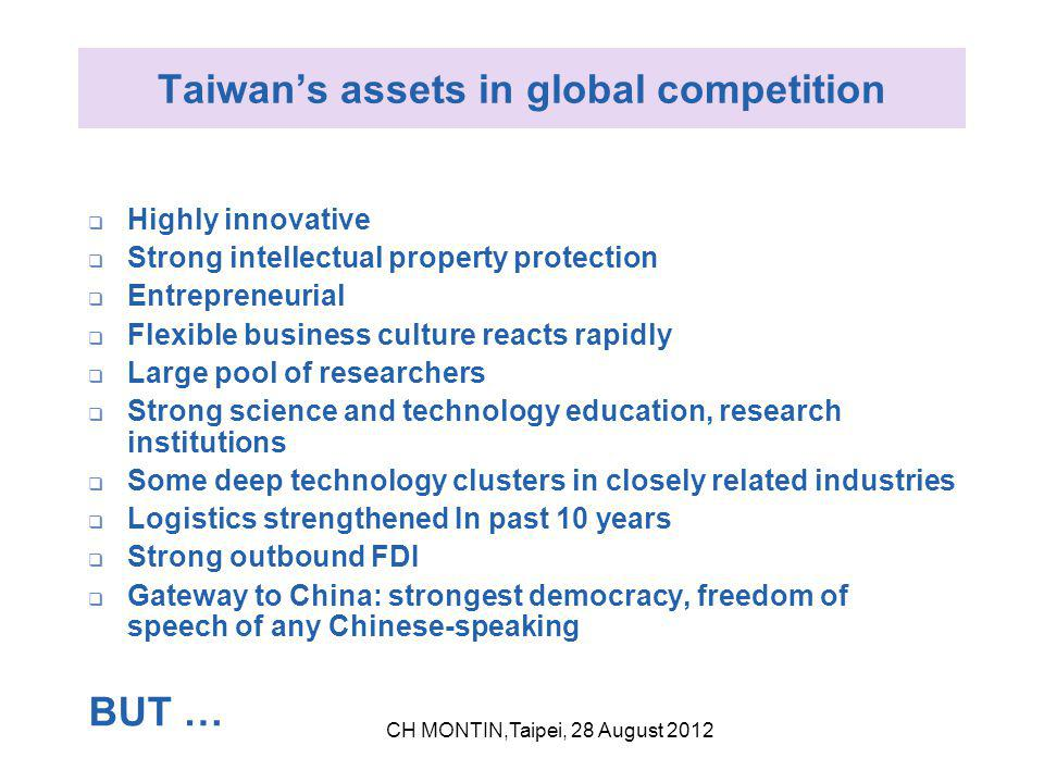 Taiwan's assets in global competition  Highly innovative  Strong intellectual property protection  Entrepreneurial  Flexible business culture reacts rapidly  Large pool of researchers  Strong science and technology education, research institutions  Some deep technology clusters in closely related industries  Logistics strengthened In past 10 years  Strong outbound FDI  Gateway to China: strongest democracy, freedom of speech of any Chinese-speaking BUT … CH MONTIN,Taipei, 28 August 2012