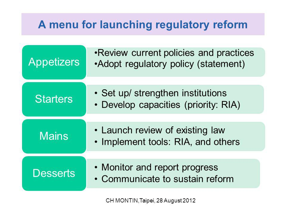 A menu for launching regulatory reform Review current policies and practices Adopt regulatory policy (statement) Appetizers Set up/ strengthen institutions Develop capacities (priority: RIA) Starters Launch review of existing law Implement tools: RIA, and others Mains Monitor and report progress Communicate to sustain reform Desserts CH MONTIN,Taipei, 28 August 2012
