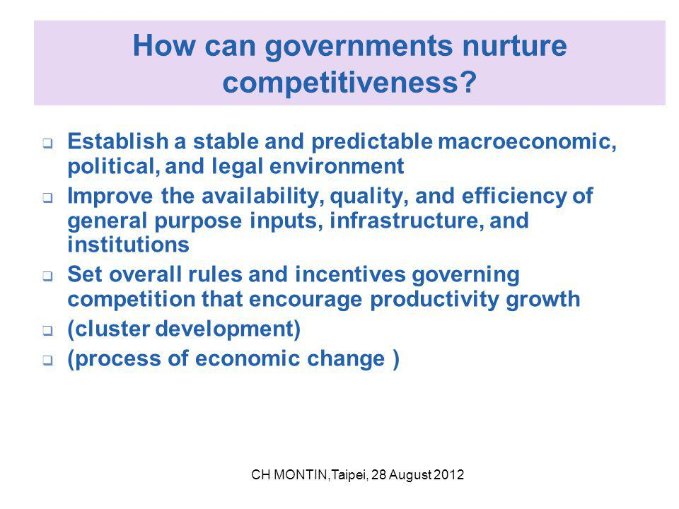 The main areas of regulation in support of competitiveness Reduce costs of doing business Provide well- run public services Provide stable background Preserve efficient market operation Market rulesInstitutions Business environment infrastructure CH MONTIN,Taipei, 28 August 2012
