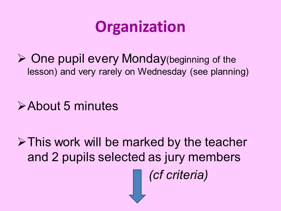 Organization  One pupil every Monday (beginning of the lesson) and very rarely on Wednesday (see planning)  About 5 minutes  This work will be marked by the teacher and 2 pupils selected as jury members (cf criteria)