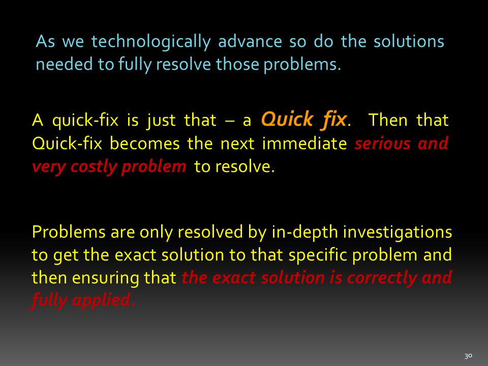 As we technologically advance so do the solutions needed to fully resolve those problems.
