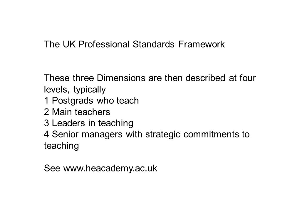 The UK Professional Standards Framework These three Dimensions are then described at four levels, typically 1 Postgrads who teach 2 Main teachers 3 Leaders in teaching 4 Senior managers with strategic commitments to teaching See www.heacademy.ac.uk