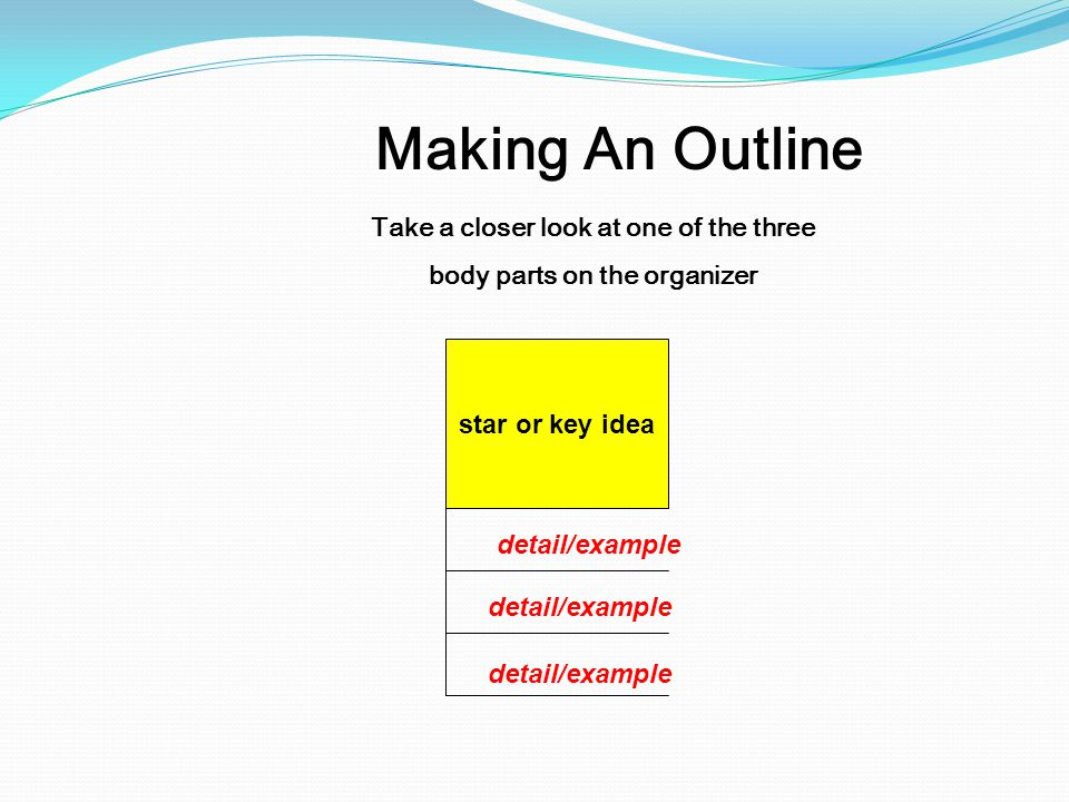 Take a closer look at one of the three body parts on the organizer Making An Outline star or key idea detail/example