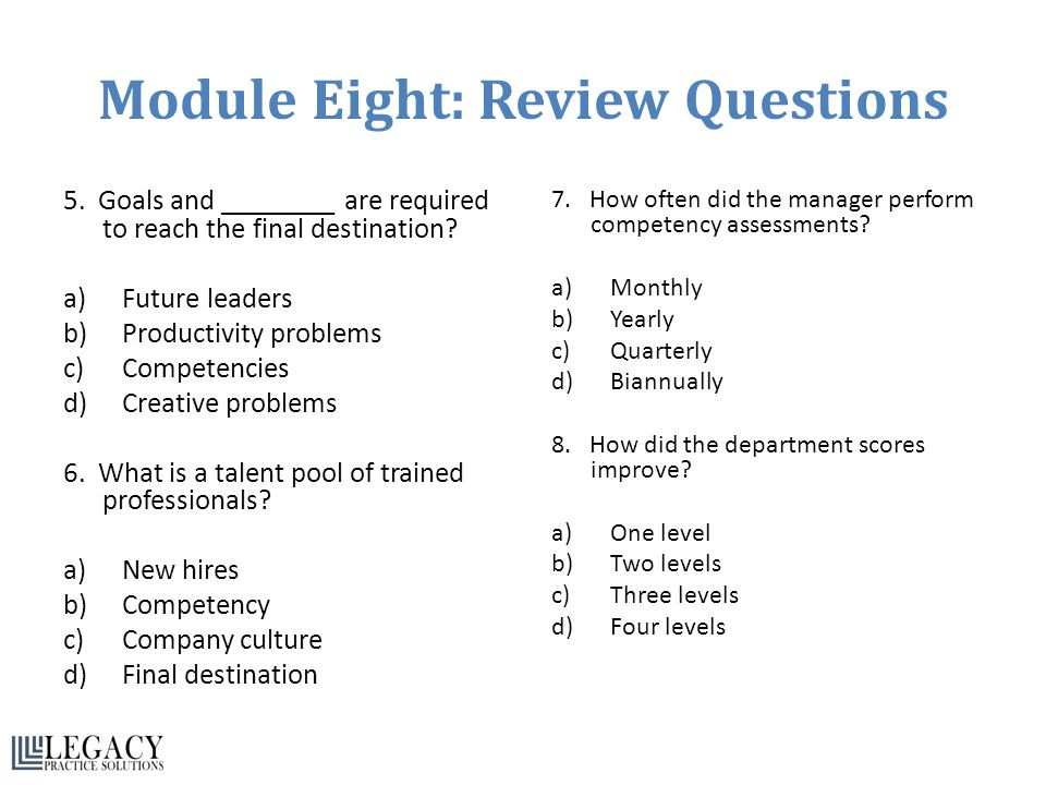 Module Eight: Review Questions 5. Goals and ________ are required to reach the final destination? a)Future leaders b)Productivity problems c)Competenc