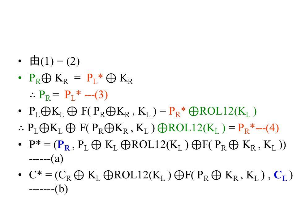 由 (1) = (2) P R ⊕ K R = P L * ⊕ K R ∴ P R = P L * ---(3) P L ⊕ K L ⊕ F( P R ⊕ K R, K L ) = P R * ⊕ ROL12(K L ) ∴ P L ⊕ K L ⊕ F( P R ⊕ K R, K L ) ⊕ ROL12(K L ) = P R *---(4) P* = (P R, P L ⊕ K L ⊕ ROL12(K L ) ⊕ F( P R ⊕ K R, K L )) ------(a) C* = (C R ⊕ K L ⊕ ROL12(K L ) ⊕ F( P R ⊕ K R, K L ), C L ) -------(b)