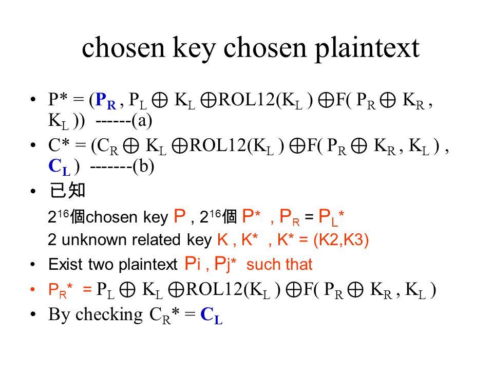 chosen key chosen plaintext P* = (P R, P L ⊕ K L ⊕ ROL12(K L ) ⊕ F( P R ⊕ K R, K L )) ------(a) C* = (C R ⊕ K L ⊕ ROL12(K L ) ⊕ F( P R ⊕ K R, K L ), C L ) -------(b) 已知 2 16 個 chosen key P, 2 16 個 P *, P R = P L * 2 unknown related key K, K*, K* = (K2,K3) Exist two plaintext P i, P j* such that P R * = P L ⊕ K L ⊕ ROL12(K L ) ⊕ F( P R ⊕ K R, K L ) By checking C R * = C L