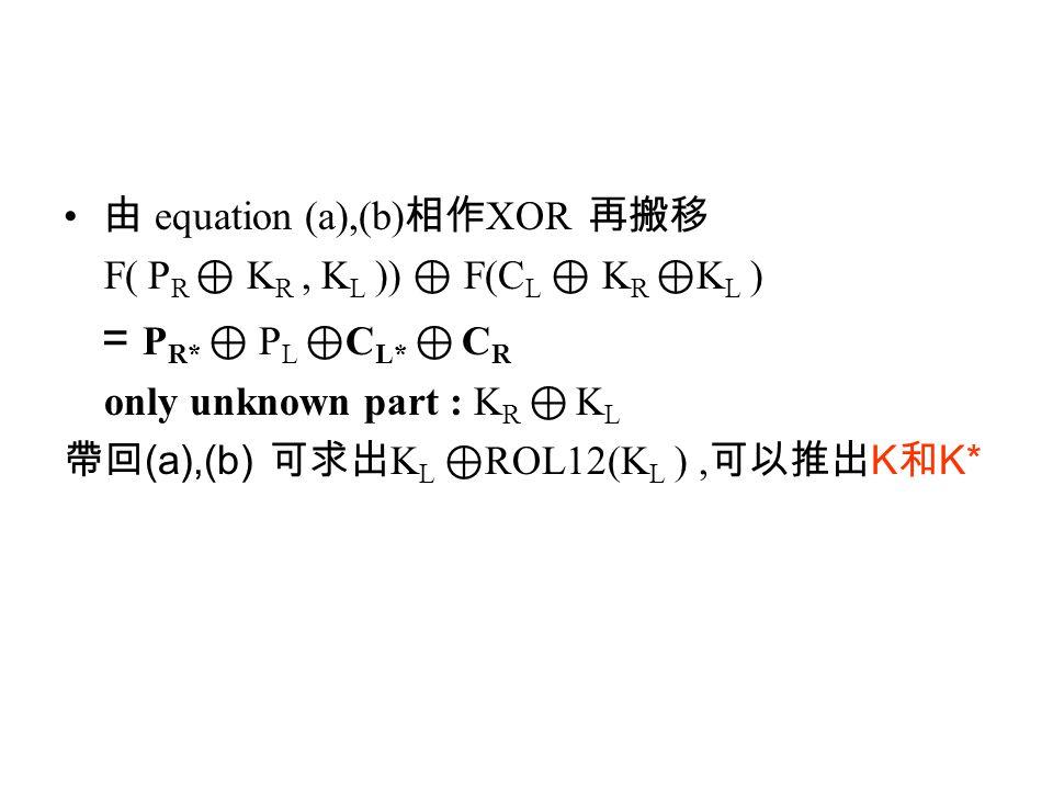 由 equation (a),(b) 相作 XOR 再搬移 F( P R ⊕ K R, K L )) ⊕ F(C L ⊕ K R ⊕ K L ) = P R* ⊕ P L ⊕ C L* ⊕ C R only unknown part : K R ⊕ K L 帶回 (a),(b) 可求出 K L ⊕ ROL12(K L ), 可以推出 K 和 K*