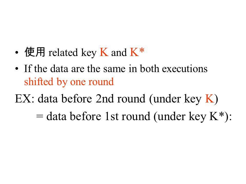 使用 related key K and K* If the data are the same in both executions shifted by one round EX: data before 2nd round (under key K) = data before 1st round (under key K*):