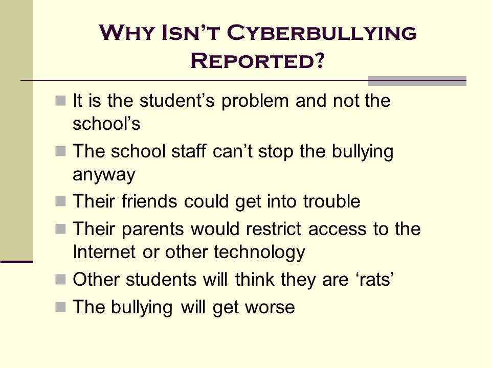 Why Isn't Cyberbullying Reported.