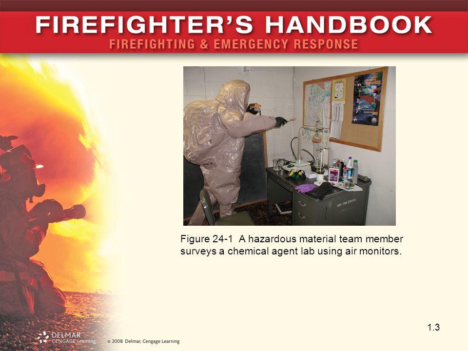 1.3 Figure 24-1 A hazardous material team member surveys a chemical agent lab using air monitors.