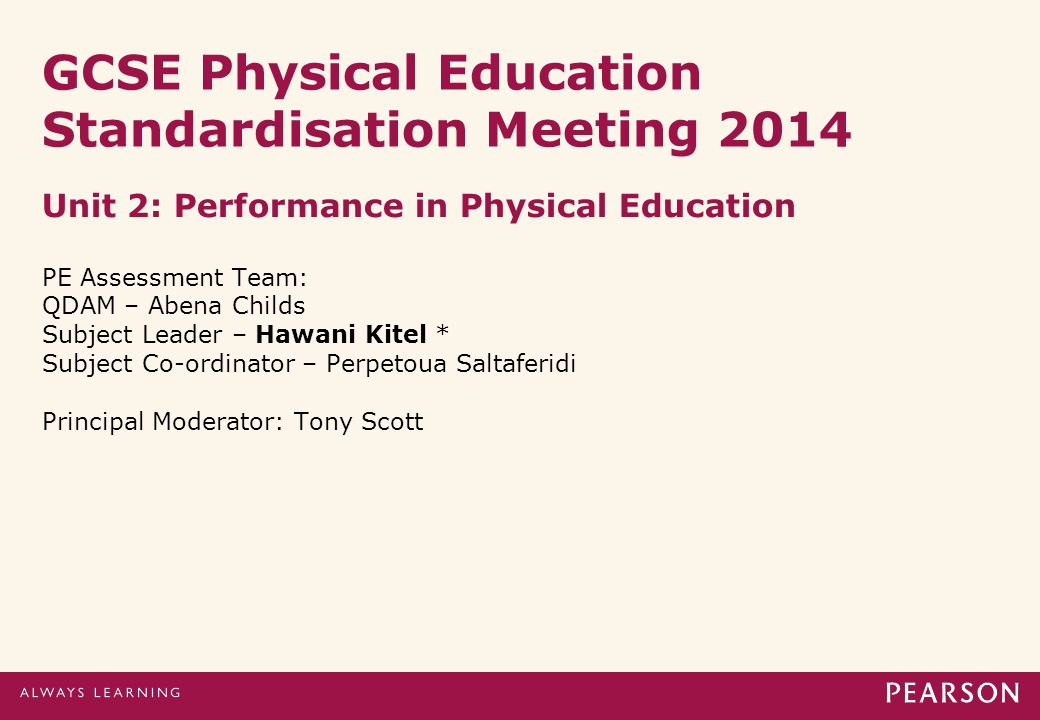 GCSE Physical Education Standardisation Meeting 2014 Unit 2: Performance in Physical Education PE Assessment Team: QDAM – Abena Childs Subject Leader