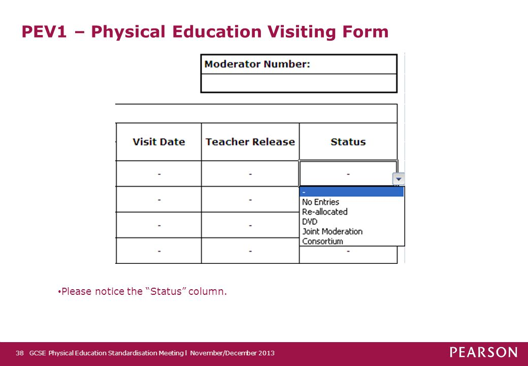 """PEV1 – Physical Education Visiting Form GCSE Physical Education Standardisation Meeting l November/December 201338 Please notice the """"Status"""" column."""