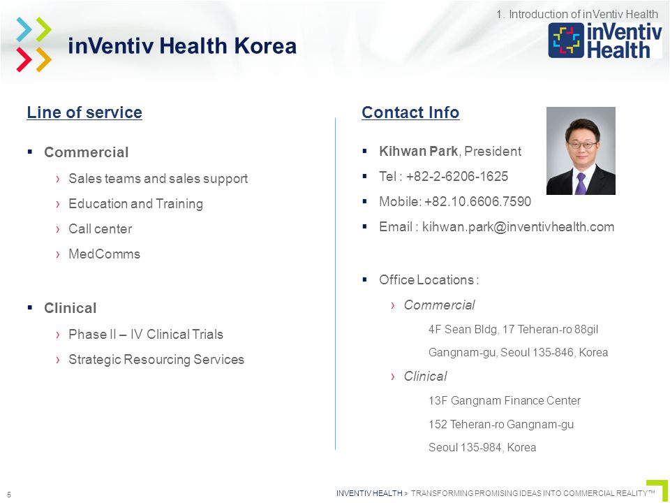 INVENTIV HEALTH > TRANSFORMING PROMISING IDEAS INTO COMMERCIAL REALITY™ 5 inVentiv Health Korea  Commercial ›Sales teams and sales support ›Education and Training ›Call center ›MedComms  Clinical ›Phase II – IV Clinical Trials ›Strategic Resourcing Services  Kihwan Park, President  Tel : +82-2-6206-1625  Mobile: +82.10.6606.7590  Email : kihwan.park@inventivhealth.com  Office Locations : ›Commercial 4F Sean Bldg, 17 Teheran-ro 88gil Gangnam-gu, Seoul 135-846, Korea ›Clinical 13F Gangnam Finance Center 152 Teheran-ro Gangnam-gu Seoul 135-984, Korea Line of serviceContact Info 1.