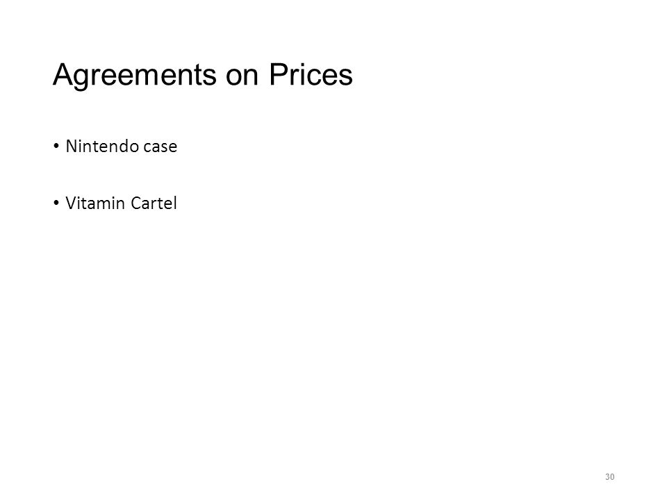 Agreements on Prices Nintendo case Vitamin Cartel 30